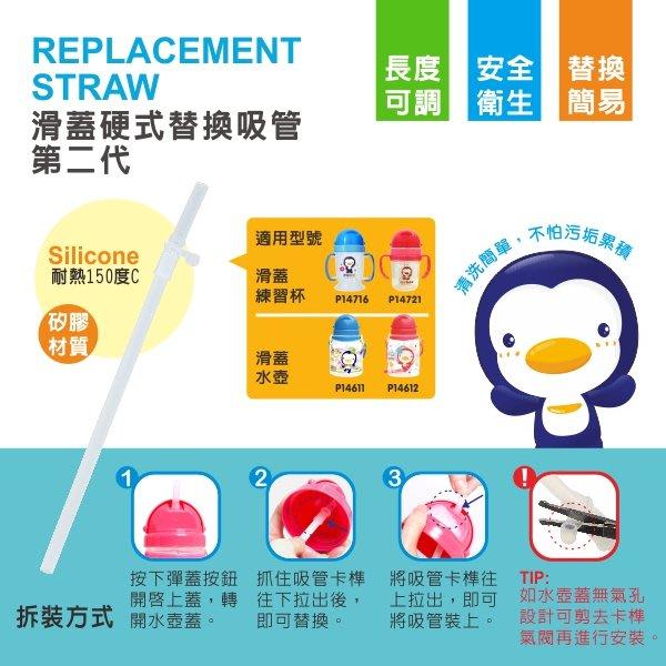 瘋狂寶寶**PUKU藍色企鵝 滑蓋硬式替換吸管(第二代)(P11320)**特價29元