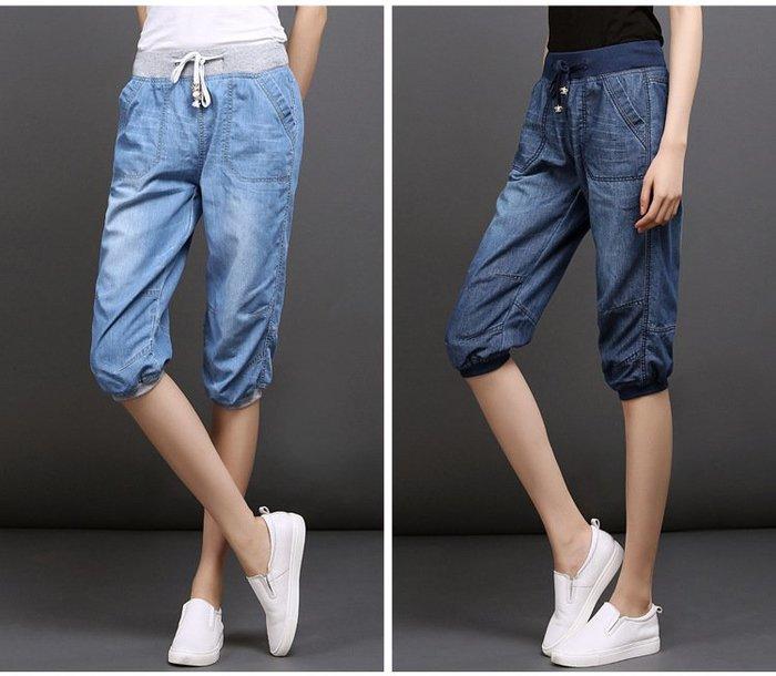 牛仔褲 (FRH808)夏季清涼舒適天絲棉寬鬆七分牛仔褲 薄款牛仔褲 燈籠褲 哈倫褲 中大尺碼 S-4XL