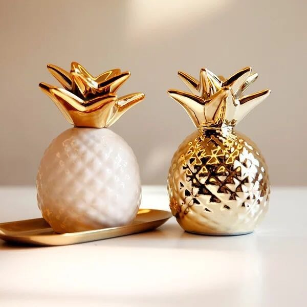 (一組2入)好運旺旺 金鳳梨存錢桶 雙雙對對 電鍍陶瓷工藝 存錢桶 鳳梨存錢桶 不含盤子喔