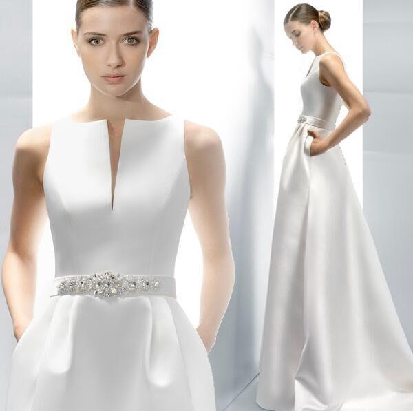 愛丫  一字肩V領齊地拖尾新娘婚紗禮服晚宴服白色晚禮服水鑽禮服