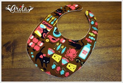 ♥grita's handmade♥純棉手作嬰幼兒圍兜兜/領巾/口水巾/三角巾/彌月禮—貓咪歡樂派對
