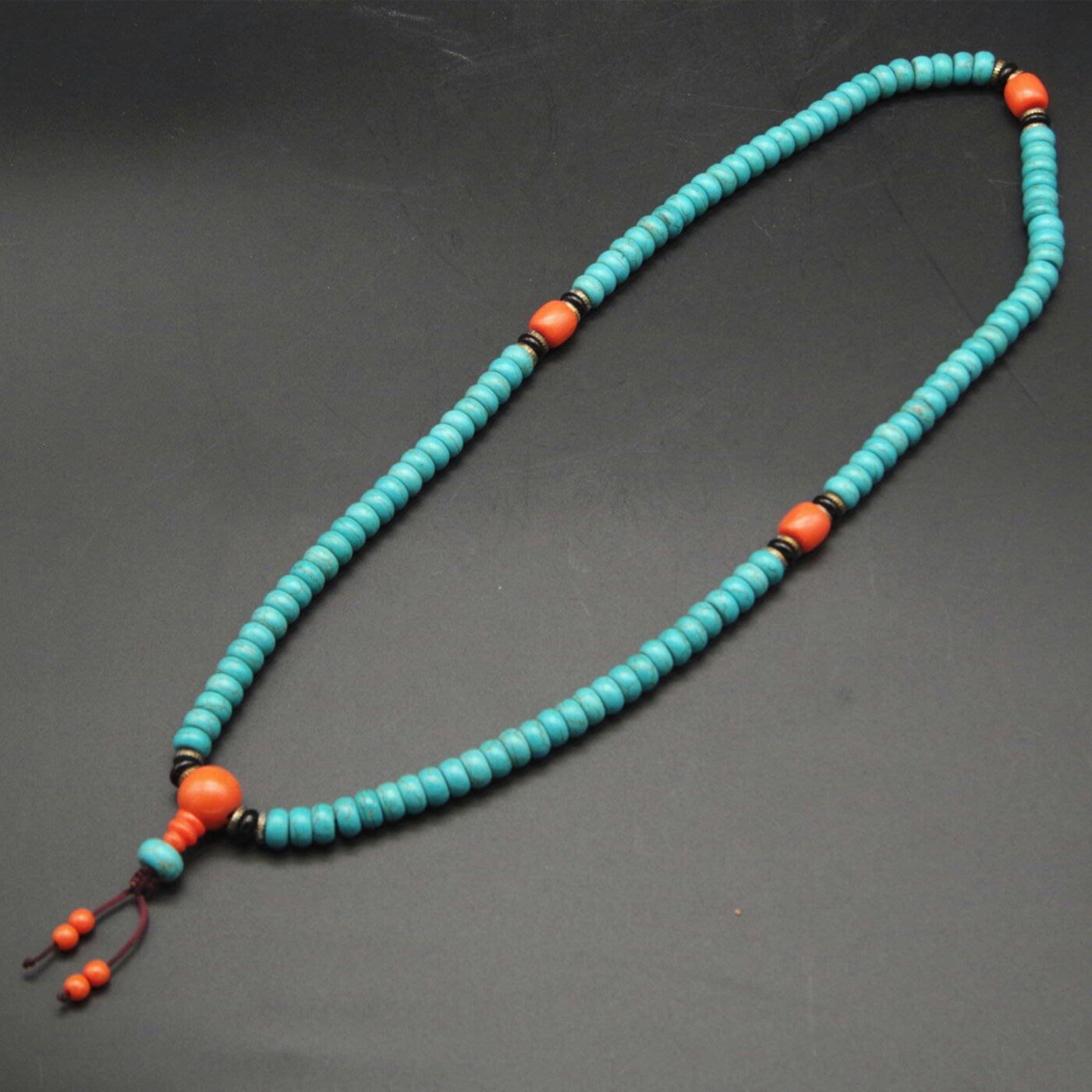 天然綠松石108顆佛珠念珠項鍊/手鍊9mm扁圆珠
