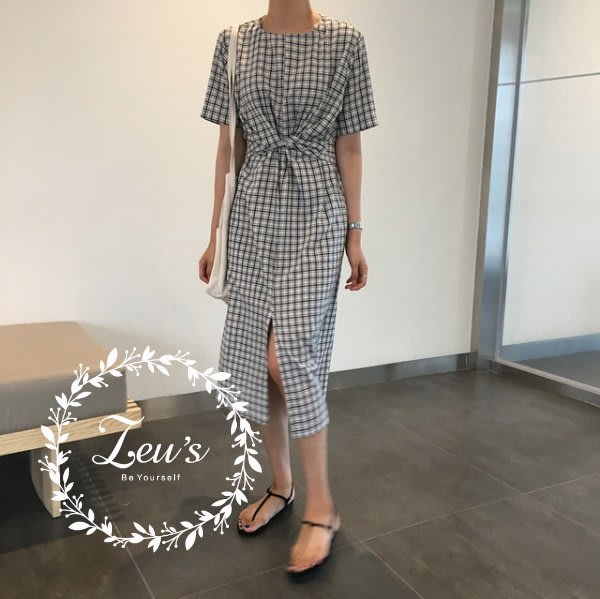 【ZEU'S】春夏甜美休閒綁帶格紋洋裝『 05218601 』【現+預】E