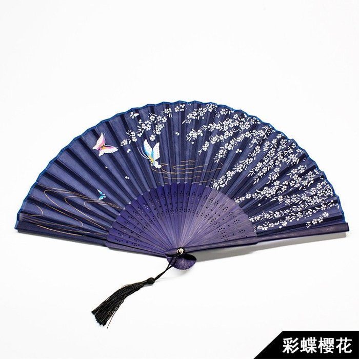 日式折扇中國風扇子絹扇和風夏季男女扇櫻花古風折疊扇子(1)