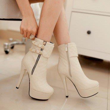 yes99buy加盟-秋冬新款女鞋 純色側拉鏈높은超高跟短筒女靴