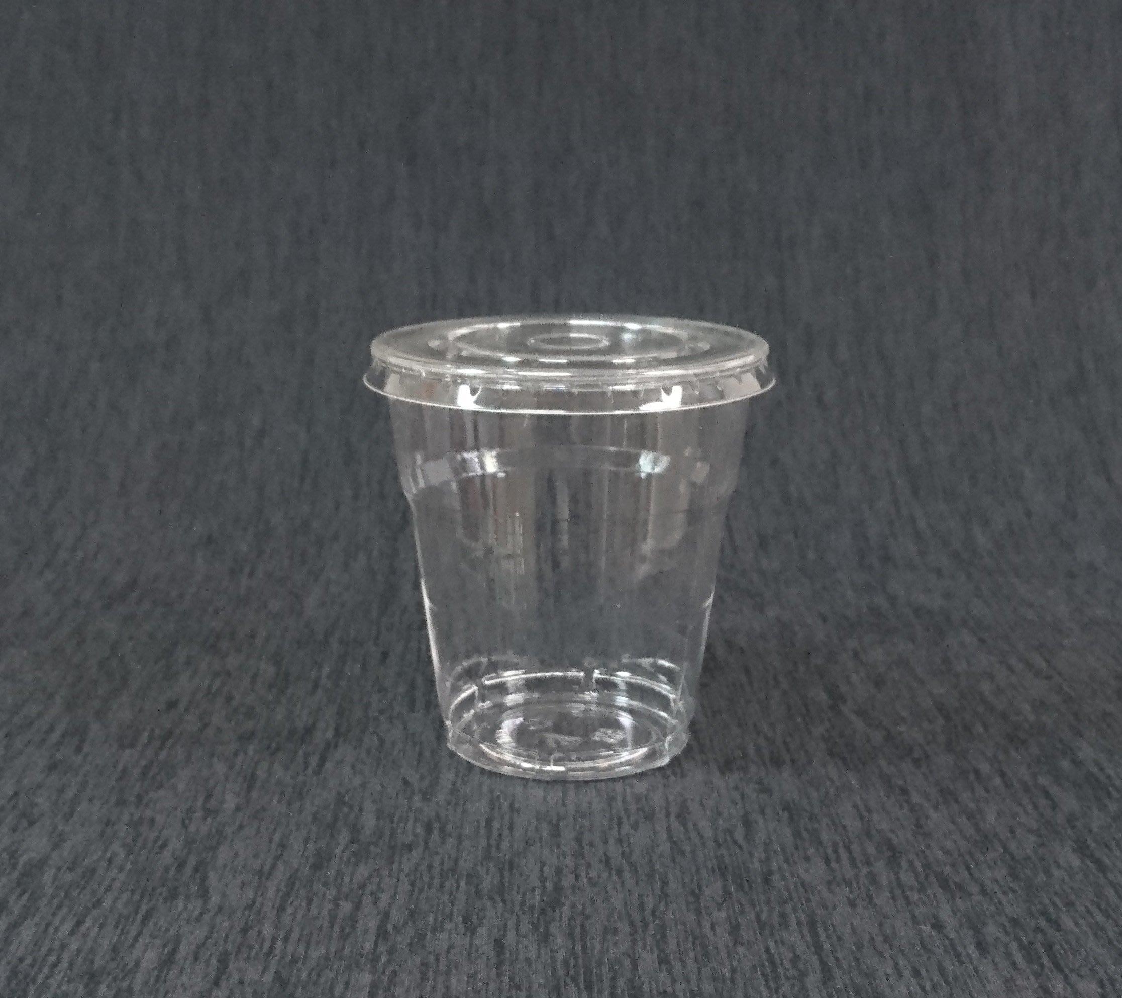 2000組【250cc 透明水晶杯+圓孔平蓋】透明硬杯 冷飲杯 透明杯 塑膠杯子 飲料杯 冷杯 水杯