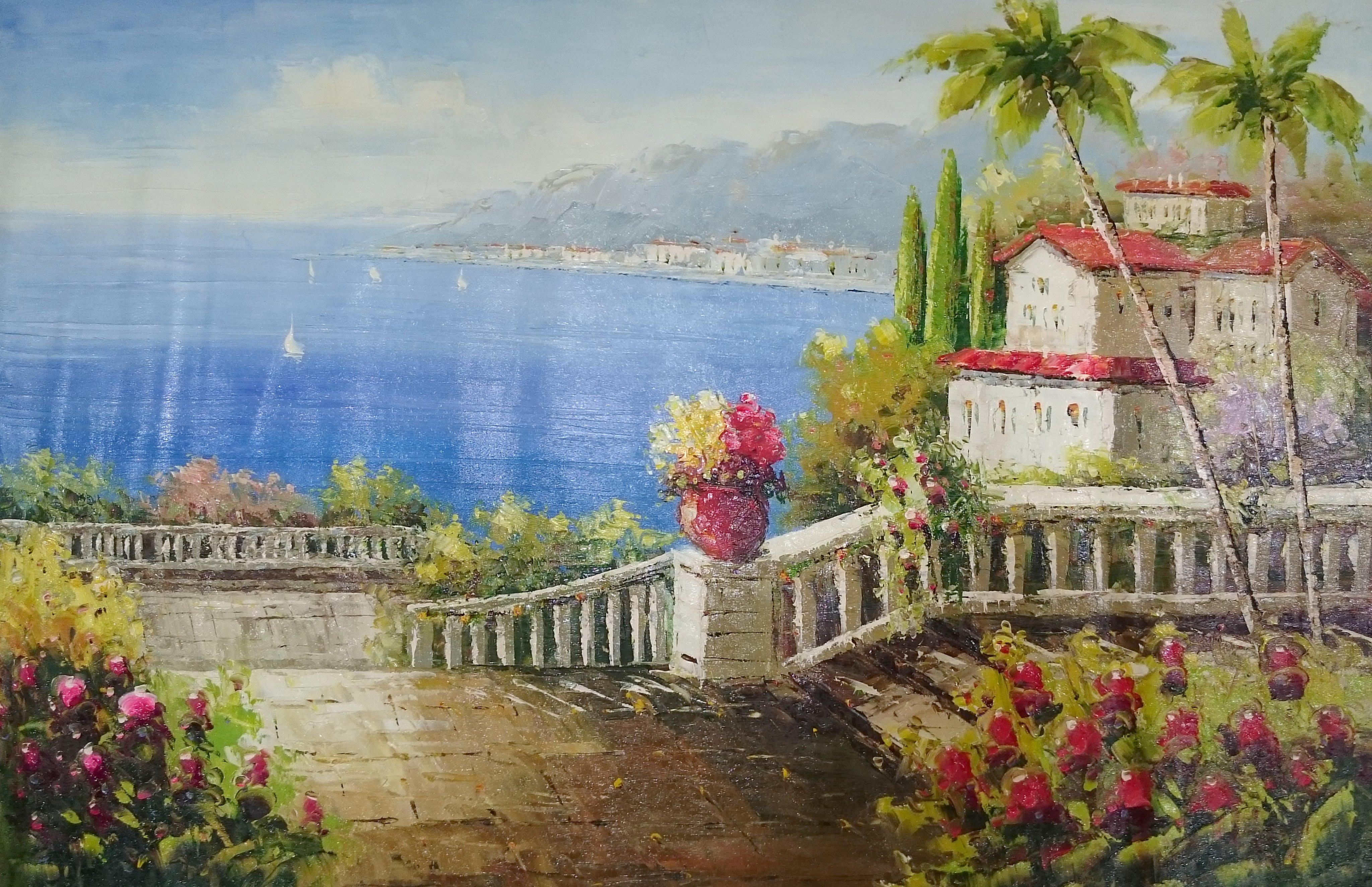松風閣畫廊 60x50 cm地中海風景 歐風油畫