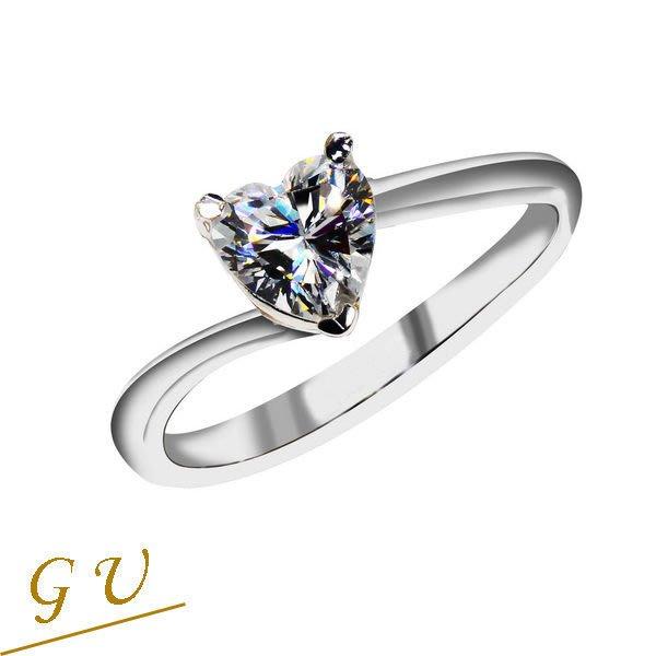 【GU鑽石】A82純銀飾品人工鑽生日禮物擬真鑽鋯石戒指 GresUnic Apromiz 80分愛心戒指 女戒