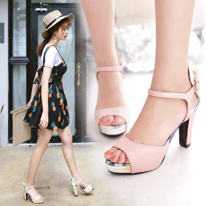 涼鞋*鞋館Shoes hall*【C21503】夏日女神~花色系露趾高跟涼鞋~3色~(可訂作大尺碼)