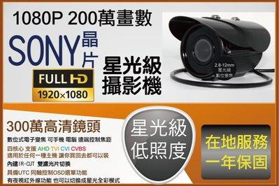 黑色機殼 2.8-12MM 電動變焦 夜間微光 全彩 星光級 低照度 1080P 紅外線攝影機 AHD 四合一 UTC