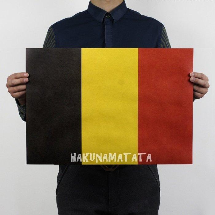 ~貼貼屋~比利時國旗 黑黃紅 懷舊復古 牛皮紙海報 壁貼 店面裝飾  566