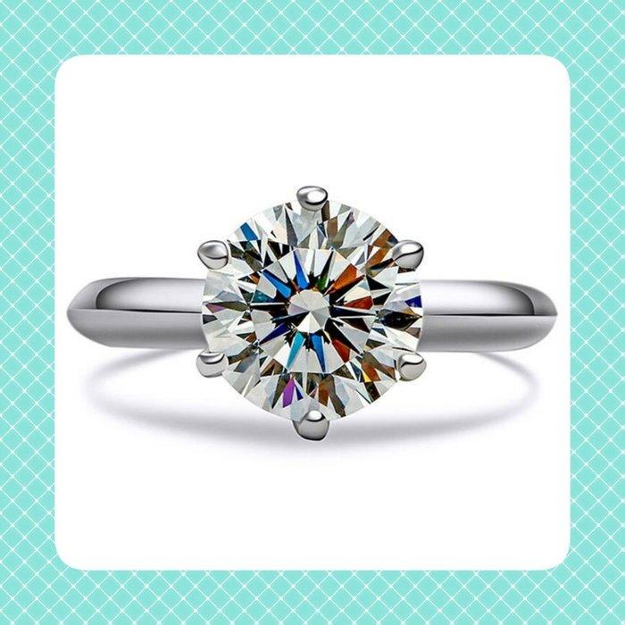 2克拉鑽戒T家六爪鑲鑽戒求婚 結婚 情人節禮物 鑽石純銀包白金戒指 高碳仿真鑽莫桑石  FOREVER鑽寶