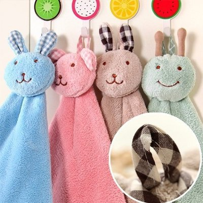 ☜shop go☞【F08】創意可愛兔加厚可掛式珊瑚绒超強吸水擦手巾 廚房浴室掛式擦手巾 珊瑚絨擦手巾 毛巾