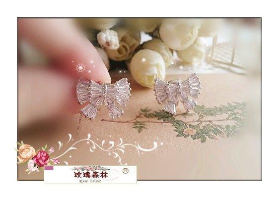玫瑰森林-- ☆°* 嚴選精品~高質感 精緻微鑲鋯石 高貴蝴蝶結 無耳洞耳夾式耳環