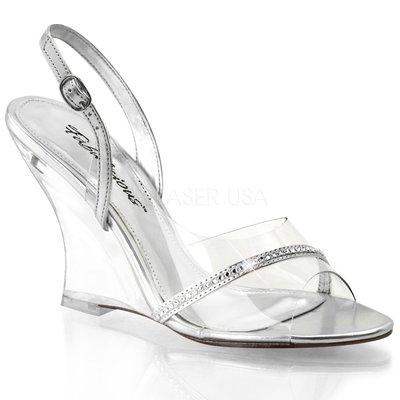 Shoes InStyle《四吋》美國品牌 FABULICIOUS 原廠正品透明楔型高跟涼鞋 有大尺碼 出清『銀色』