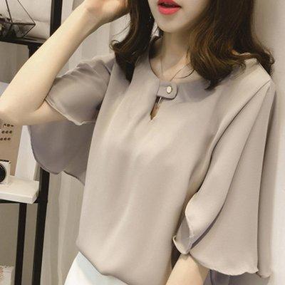 韓版 雪紡衫 襯衫 時尚 氣質 顯瘦 甜美 喇叭 長袖 上班族 SMP0010 SLY0010 宴會 約會 百搭 上衣