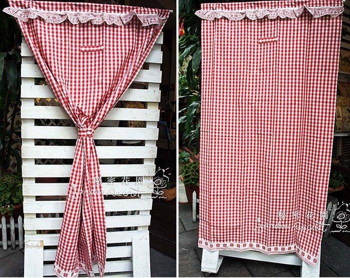 門簾窗簾--日本進口鄉村風格子厚磅純棉門簾/風水簾/窗簾-100*180cm--秘密花園