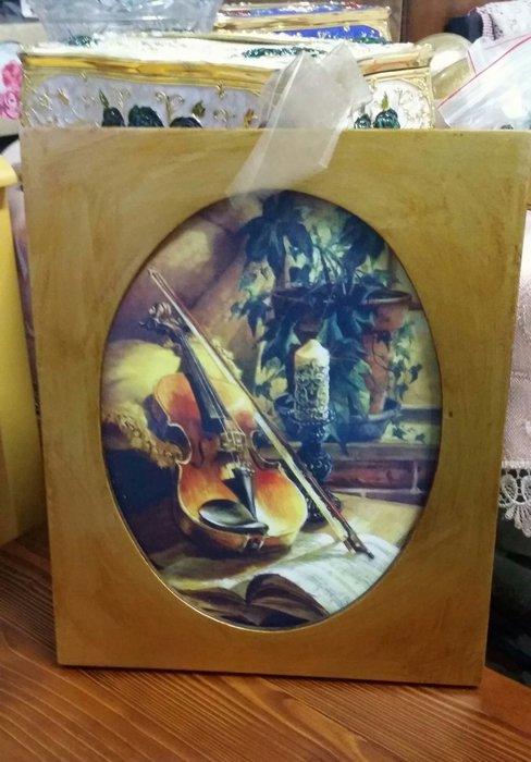 美生活館--- 全新 鄉村 古典風格 小品掛畫 仿真提琴木質 掛畫 掛飾 餐廳 民宿 店面
