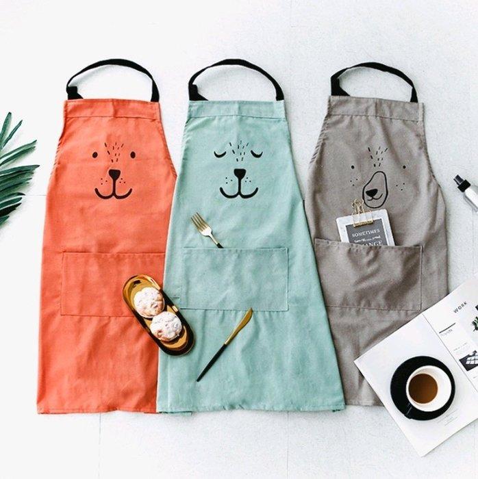 ~銅板屋~~ ~3款 日式 棉麻 親子 動物 圍裙 工作服 烘焙 畫衣 卡通 收納箱 純色