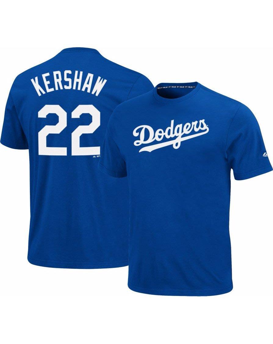 騎士風~ MLB 道奇隊 Majestic Kershaw 柯蕭 T-Shirt 短袖T恤