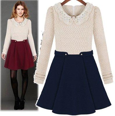 GOGO SHOP☆╭時尚顯瘦腰針織連身裙洋裝【X8099】藍/紅S~XL毛衣字母荷葉雪紡上衣