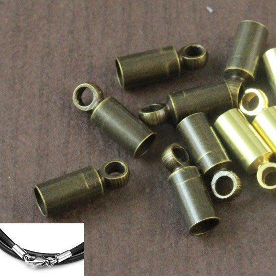 LiLi飾品配件批發  1mm銅質青古色皮繩套頭--適合1mm繩 線  12個10元  皮繩夾