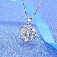 [會跳舞的鑽石5_一克拉濃情密意八心八箭皓石美鑽(鍊長45cm),S925水波紋銀項鏈]高貴典雅,好好愛自己