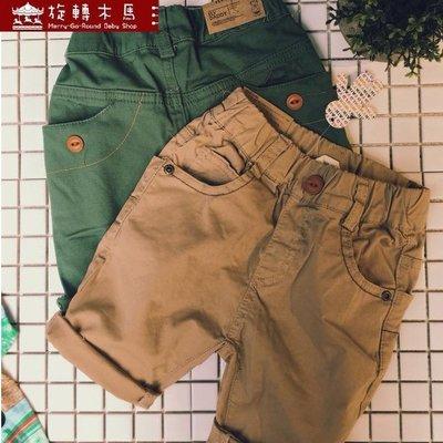 旋轉木馬【181215】一釦口袋素色水洗5~6分褲 5~17號 (2色)