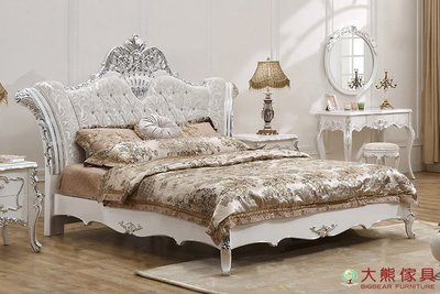 【大熊傢俱】8088 新古典雙人床 床台 床架 公主床 六尺床 歐式 法式 實木