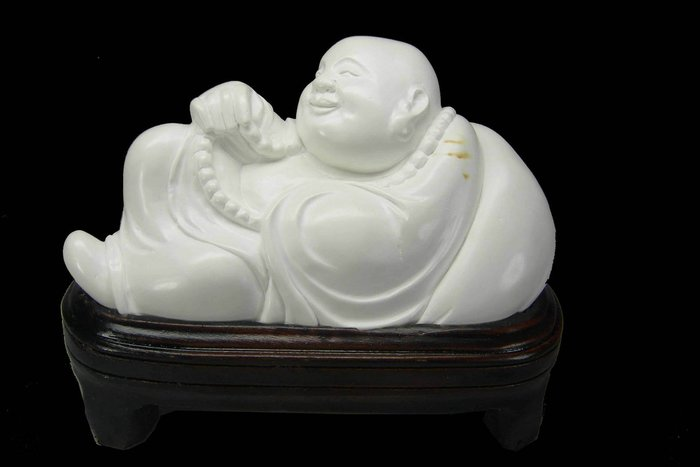 【顽石點頭】稀有石种壽山瓷白芙蓉石 欢喜弥勒 摆件 320033