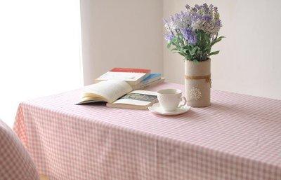 【#082 粉格子】 多种尺寸的桌巾◈乡村粉格桌布◈圆桌巾◈方桌巾◈绵麻桌巾◈ 拍照背景 道具◈140*140cm