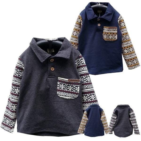 【班比納精品童裝】彈力雪花口袋接袖POLO衫-灰/藍-兩色可選