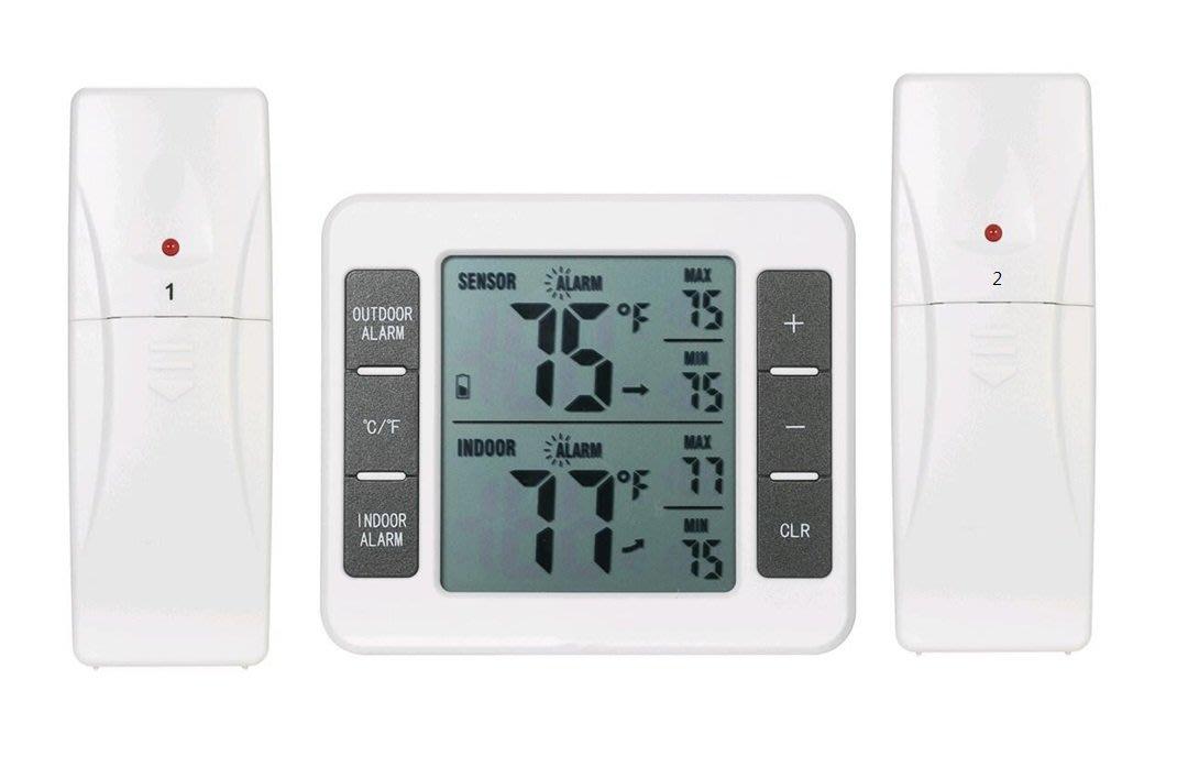一對二 室內戶外 溫度計 無線傳輸溫度計 無線溫度計 高低 溫度警報