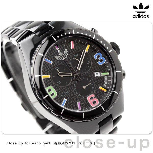 現貨 超取免運【adidas - ADH 2519】全新正品 多功能 運動型 三眼錶 名錶 手錶 / 黑色