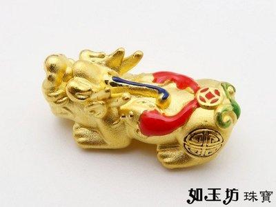 如玉坊珠寶  硬金彩繪鯉魚貔貅串珠  黃金串珠  A124043