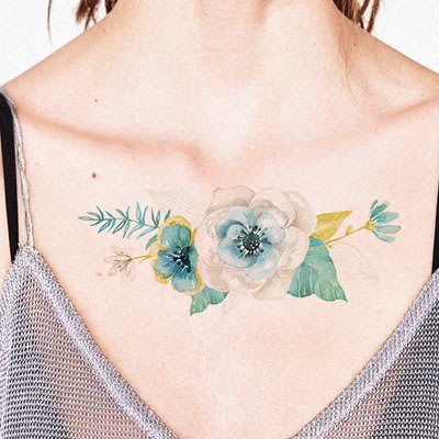 【萌古屋】藍綠清新花朵 - 男女防水紋身貼紙刺青貼紙 K12