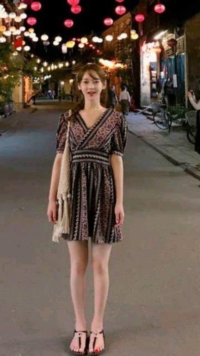 正韓東大門夏天預購款民族風短袖蕾絲洋裝