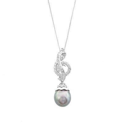 【JHT 金宏總珠寶/GIA鑽石專賣】12mm天然黑珍珠鑽墜/材質:18K(PP00063)