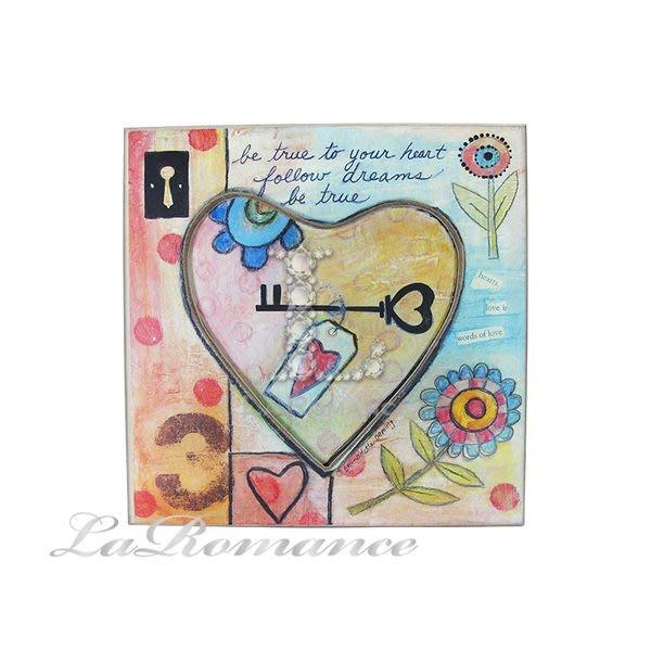 【芮洛蔓 La Romance】花言童語系列 - 愛心鑰匙木板畫飾 / 掛飾 / 畫飾