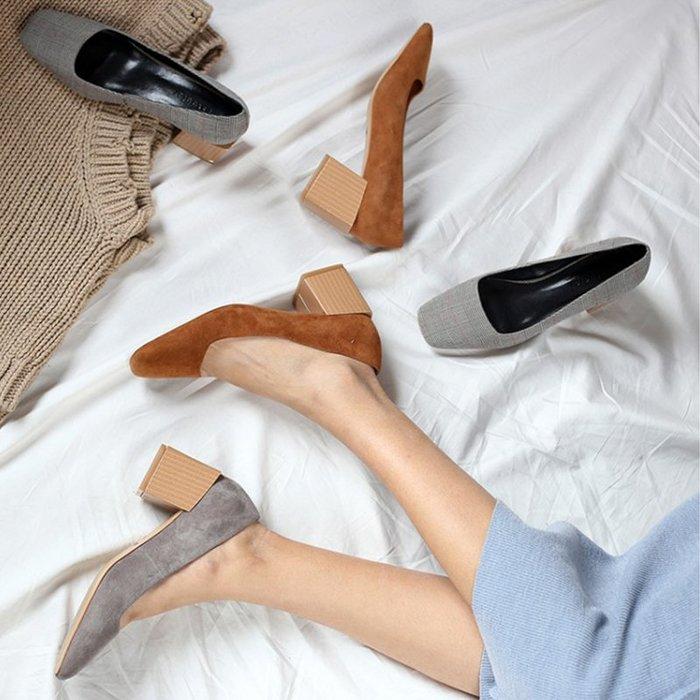 『Alice❤愛麗絲』單鞋女方頭粗跟歐美夏季新款淺口真皮高跟休閑百搭舒適女鞋子