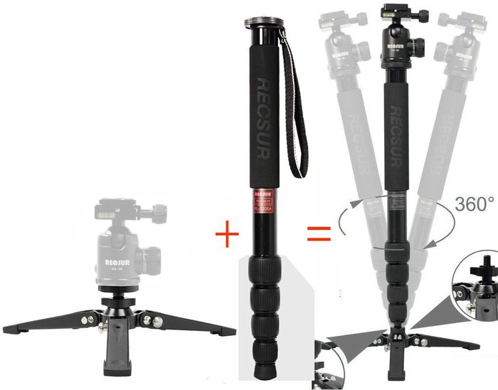 呈現攝影-RECSUR銳攝 多功能單腳架組 單腳架+三腳支撐架 鋁合金 低角度 麥克風架/閃燈架 燈手