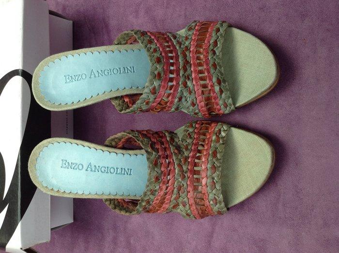 $899起標 ENZO ANGIOLINI 彩編寬版帶厚木底高跟拖鞋