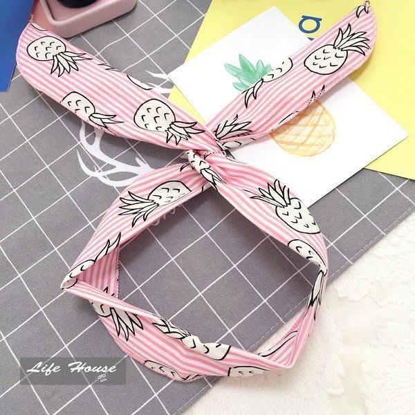 韓國春夏 條紋波蘿髮帶 鳳梨髮帶 純 製作 髮圈 兔耳朵髮帶 髮飾品