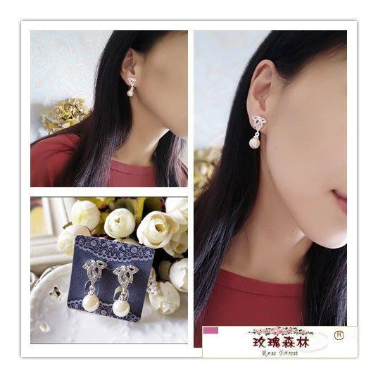 玫瑰森林-- ☆°*嚴選推薦~ 精緻優雅 水鑽葉 垂墜珍珠  耳夾式無耳洞耳環(特價)