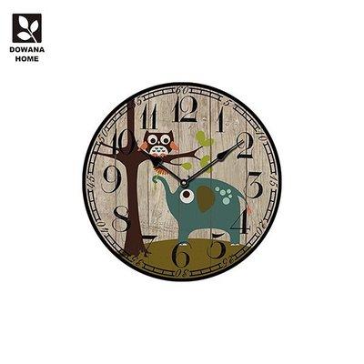【精選小物】貓頭鷹與象圓掛鐘 CK12【多瓦娜】