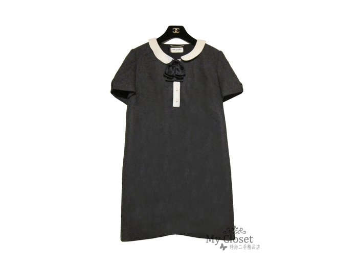 My Closet 二手名牌 SAINT LAURENT 米色小羊皮領 深灰色100%Cashmere毛呢短袖洋裝