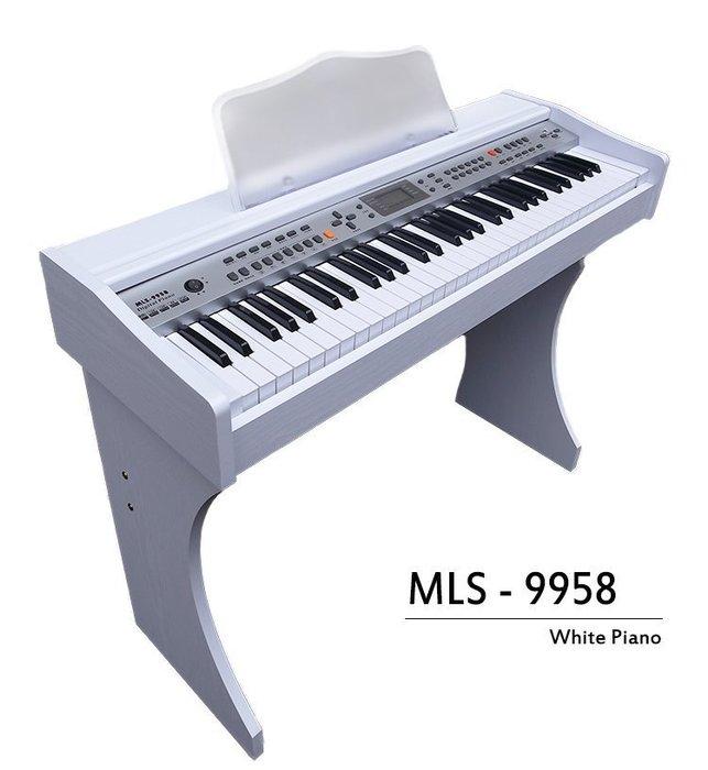 【奇歌】冬季夢幻新款!象牙白木紋電鋼琴►MP3播放+麥克風自彈自唱,61 國際標準厚鍵,內建延音,非電子琴音