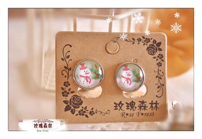 玫瑰森林-- ☆°*精選 獨特~ X'MAS 微笑的雪人 無耳洞耳夾式耳環(特價)可做耳針