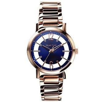 【金台鐘錶】RELAX TIME 簡約 鏤空 女錶 藍面/玫瑰金/42mm (RT-56-12M)