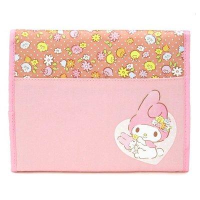 尼德斯Nydus~* 日本正版 三麗鷗 美樂蒂 Melody 零錢包 證件夾 護照套 多用途 手拿包 手帳 粉色小花